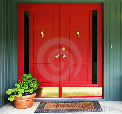 Red Double Door Entry