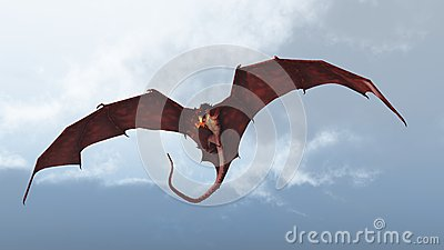 Red Dragon Attacking from a Cloudy Sky