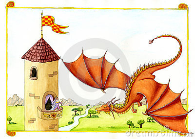 Red Dragon in front of Castle