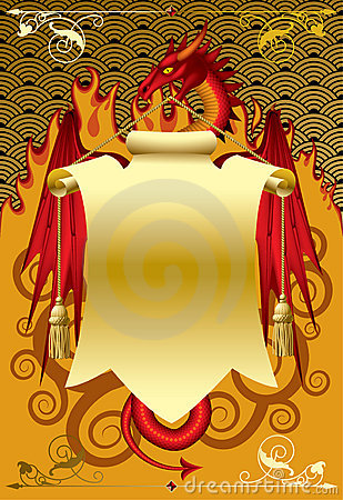 Red dragon with a gold banner