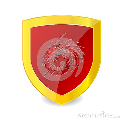 Red dragon on the red emblem and gold bolder