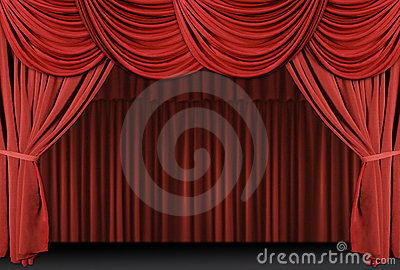 Red Draped Stage Curtains