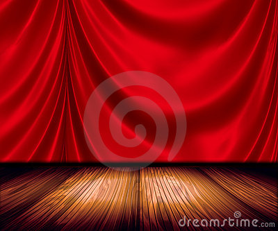 Red Drapes On Stage