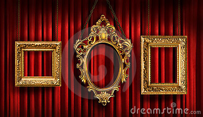 Red drapes with three  frames