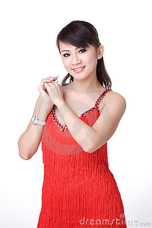 Red dress Chinese girl