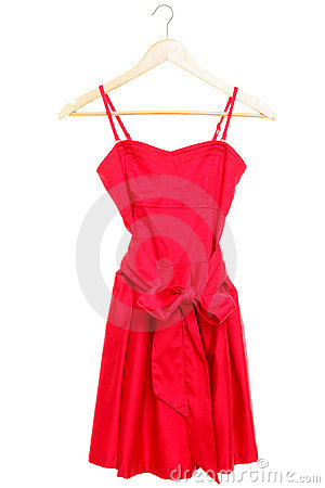 Red dress on hanger isolated