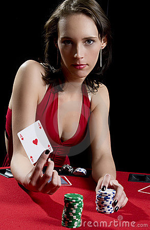 Red dress poker