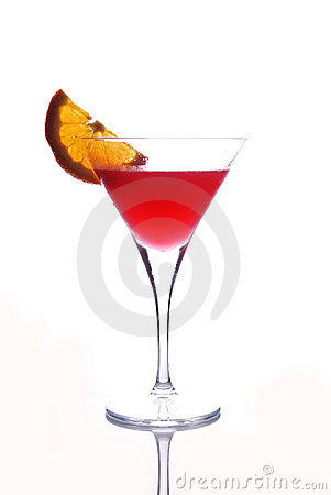 Red drink in martini glass
