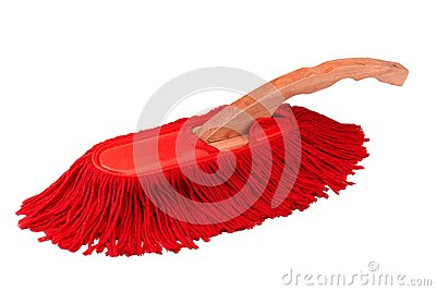 Red duster cleaner brush isolated