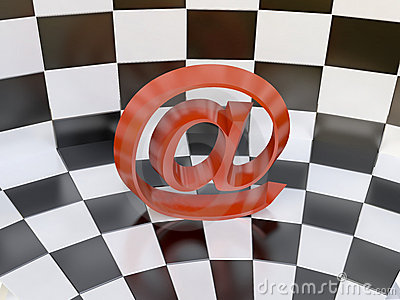 Red e-mail Sign on Chess Background