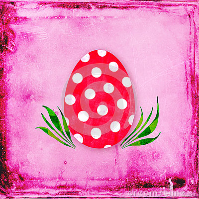 Red egg with polka dots