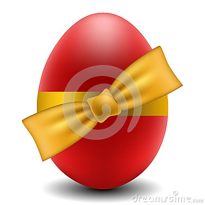 Red Easter egg with yellow bow