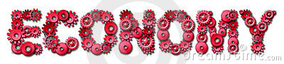 Red economy text symbol with gears and cogs