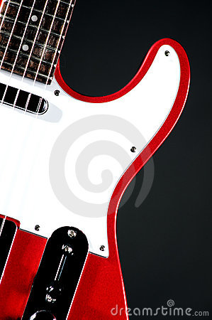 Red Electric Guitar On black