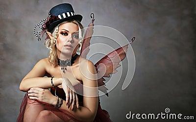 Red elf fairy Stock Photo