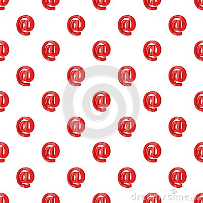 Red email sign pattern, cartoon style Vector Illustration