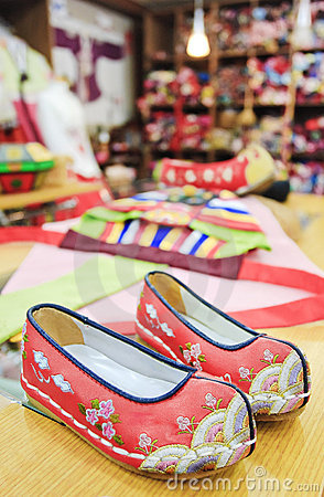 Red embroidered shoes