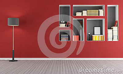 Red empty  living room with  bookcase