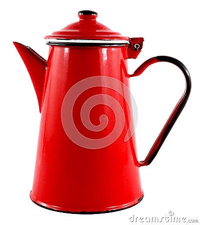 Red Enamel Tea Coffee Pot