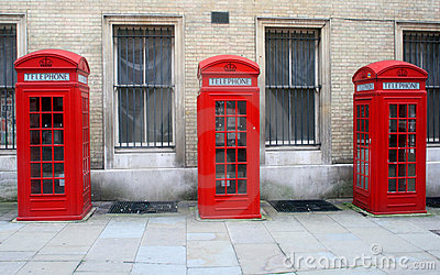 Red English telephone booths in London