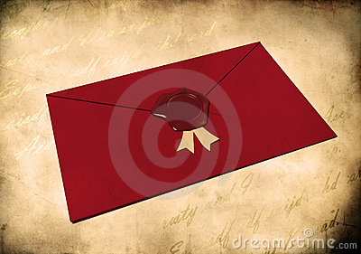 Red envelope sealed with red wax seal