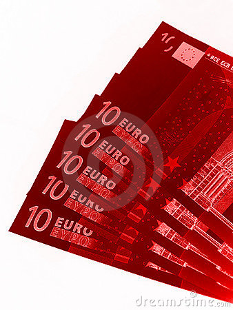 Red Euro banknotes