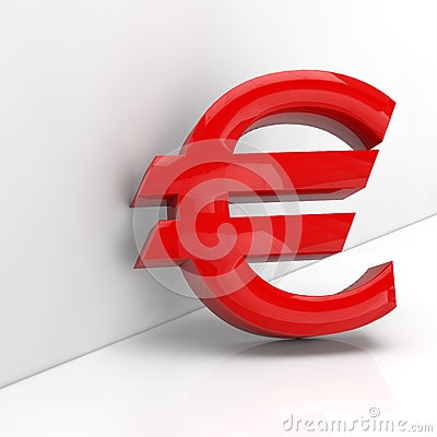 Red Euro sign in 3D