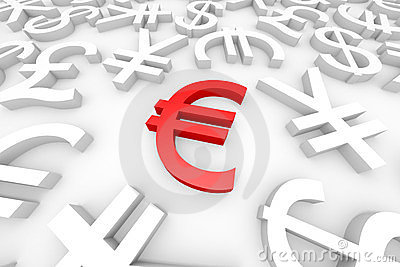 Red euro sign around another currency signs.