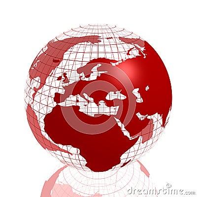 Red europe/africa 3d globe
