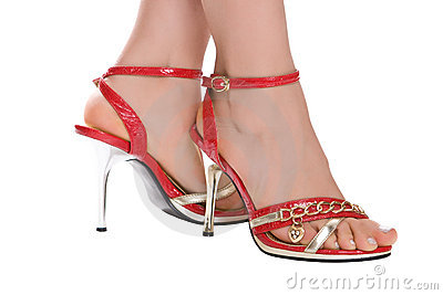Red evening sandals