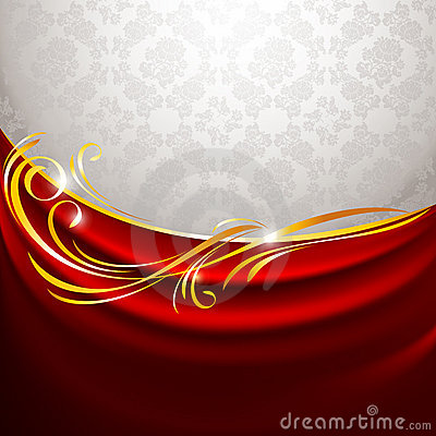 Red fabric curtain on gray background