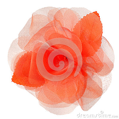 Red fabric flower