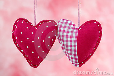 Red fabric hearts