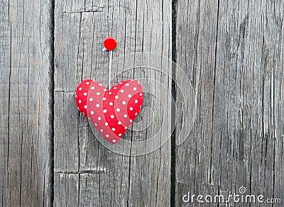 Red Fabric Polka Dot Heart