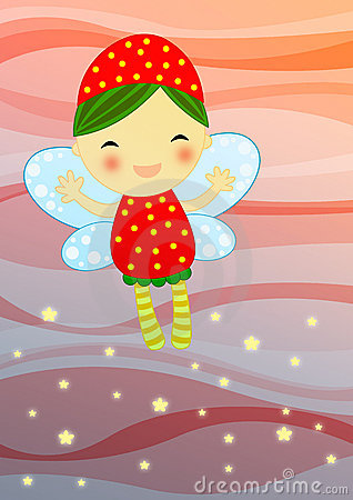 Red fairy on abstract background
