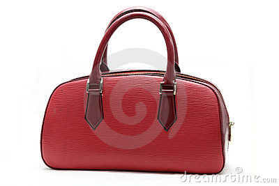 Red fake leather woman bag