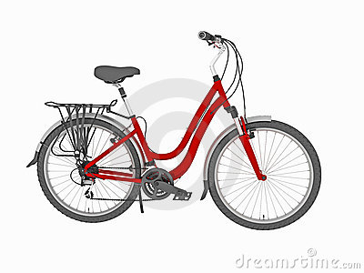Red family bike isolated