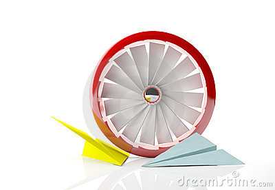 A red fan and paper planes