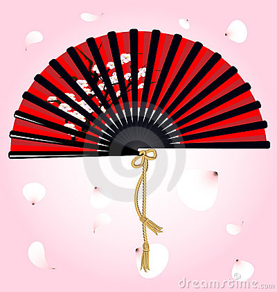 Red fan and petals