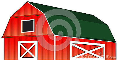 Red Farm Barn Vector Illustration Isolated