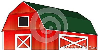 Red Farm Barn Vector Illustration Isolated