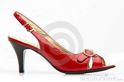 Red female shoes with a buckle