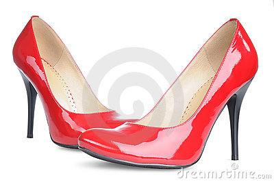 Red female shoes high heels isolated