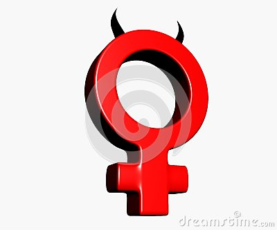Female symbol with horns on white background - 3d illustration