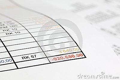 In red figures in the debts