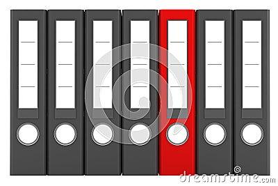 Red file folder among similar gray folders