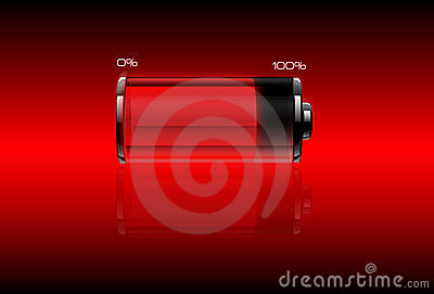 Red filled battery