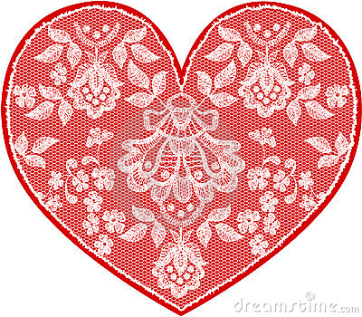 Red fine lace heart with floral pattern