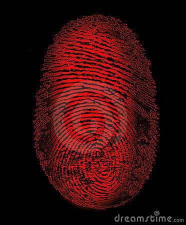 Red Fingerprint Identity Biometrics Security