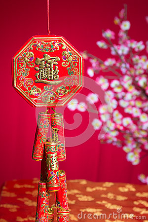 Free Red Fire Crackers Over A Chinese New Year Background Royalty Free Stock Photography - 48583907